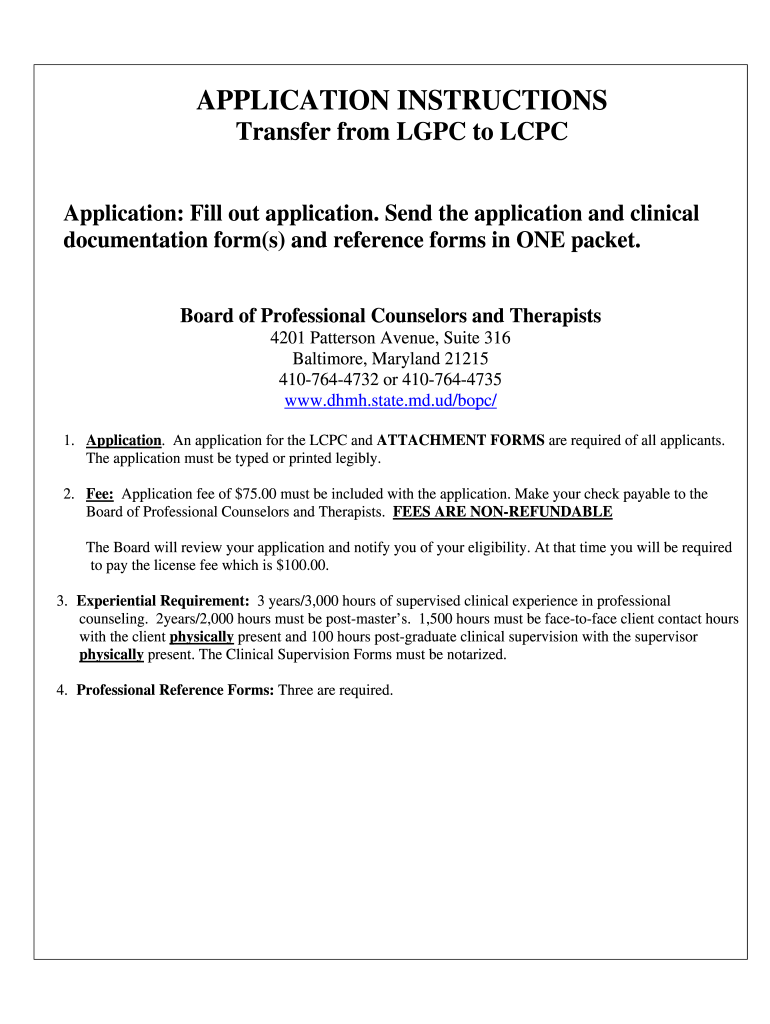 Maryland Application Lcpc - Fill Online, Printable, Fillable
