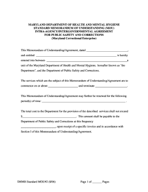 DHMH Standard MOU#2 (8/06) Page 1 of Pages MARYLAND ... - dhmh maryland