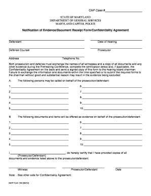 evidence receipt form fill online printable fillable blank