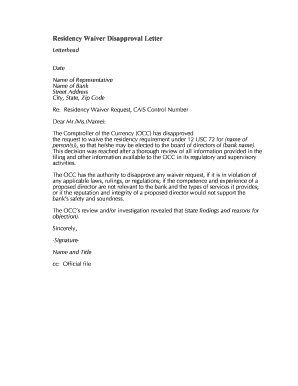 Disapproval Letter | Fillable Online Occ Residency Waiver Disapproval Letter Occ Fax