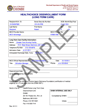 Sample LTC Disenrollment Form - Maryland Medical Programs - mmcp dhmh maryland