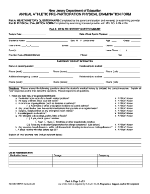 sports physical form online  Nj Sports Physical Form - Fill Online, Printable, Fillable ...