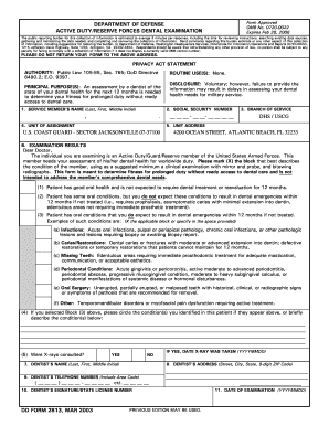 Air Force Dental Form 2813 Fill Online Printable Fillable Blank