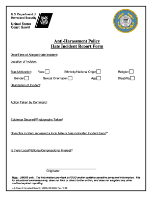 Anti-Harassment Policy Hate Incident Report Form - uscg