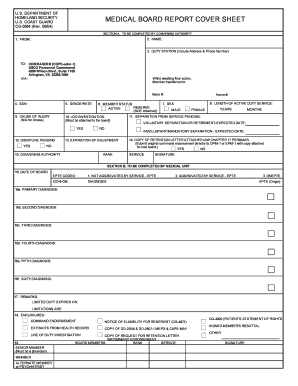 Fillable Online uscg MEDICAL BOARD REPORT COVER SHEET Fax Email ...