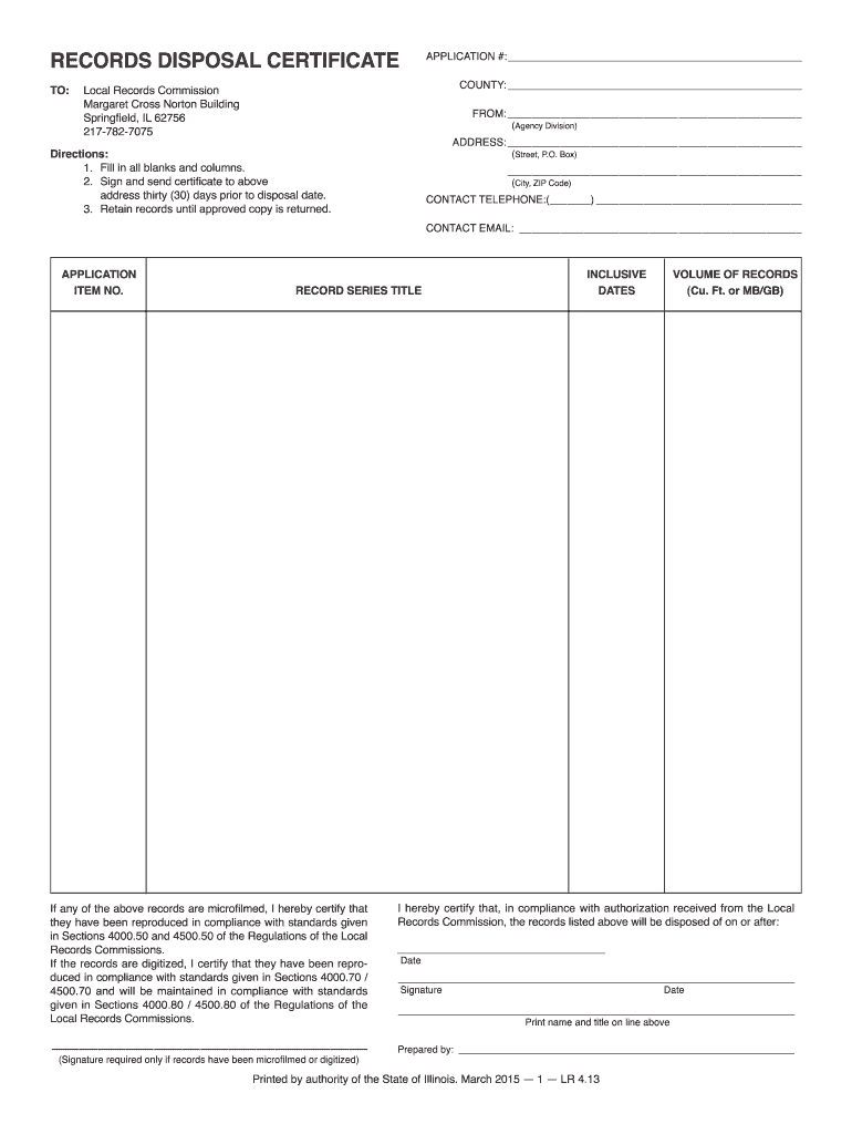 21 Form IL LR 21 Fill Online, Printable, Fillable, Blank - pdfFiller Throughout Certificate Of Disposal Template