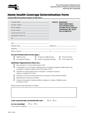 worksheet for home health coverage determination form