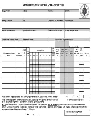 Massachusetts Certified Payroll Report Form 2009 - Fill Online ...
