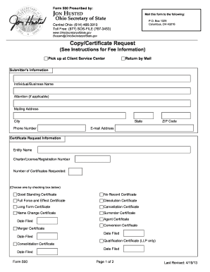 Fillable Online sos state oh Copy/Certificate Request - Ohio ...