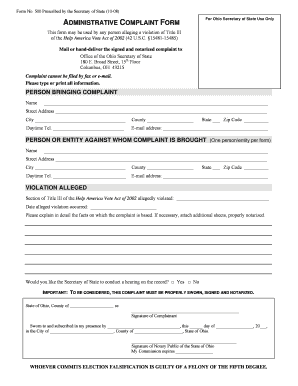 Ohio Secretary Of State Complaint Form - Fill Online, Printable ...