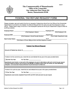 Fillable Online Mass Federal Tax Refund Request Form