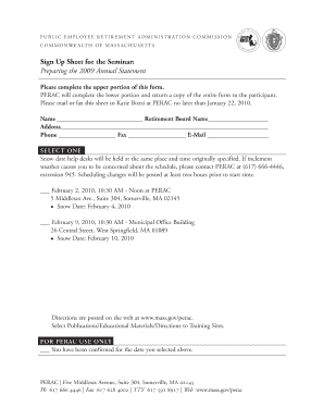 Sign Up Sheet for the Seminar: Preparing the 2009 Annual Statement