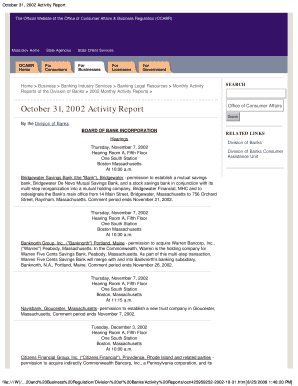 October 31, 2002 Activity Report The Official Website of the Office of Consumer Affairs &amp - archives lib state ma