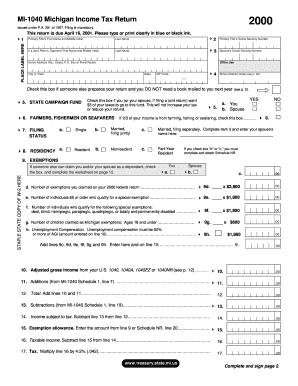 Fillable Online michigan MI-1040, 2000 Michigan Income Tax Return ...