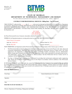 state of michigan billable rate professional services contract form