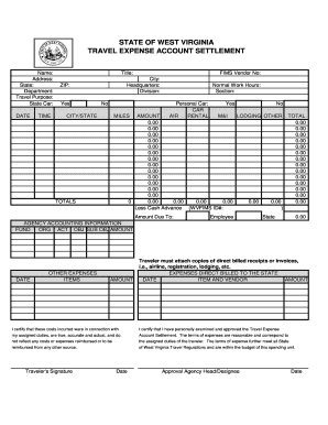 wv travel expense account settlement form