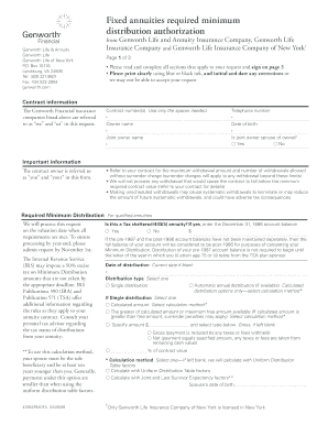Genworth Required Minimum Distribution Authorization ...