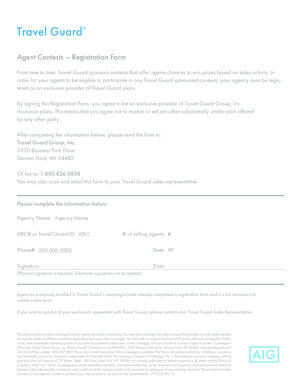 Agent Contests - Registration Form - Travel Guard