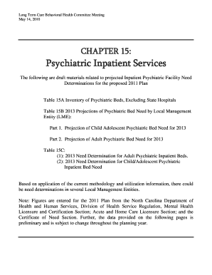 NC DHSR SHCC: Chapter 15 Psychiatric Inpatient Services - ncdhhs