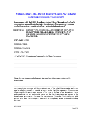 Fillable Online ncdhhs DHHS Employee/Witness Statement Form - NC ...