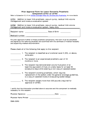 Prior Approval Form for Lower Extremity Prosthetic Component L5781 or L5782 Refer to Subsection 5 - ncdhhs