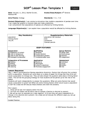Print Siop Lesson Plan Template Fill Online Printable Fillable - Fillable lesson plan template
