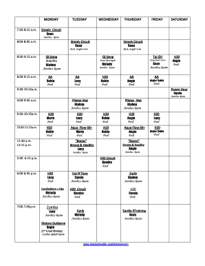 exercise class schedule form