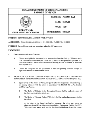 Isf Parole In Texas - Fill Online, Printable, Fillable, Blank