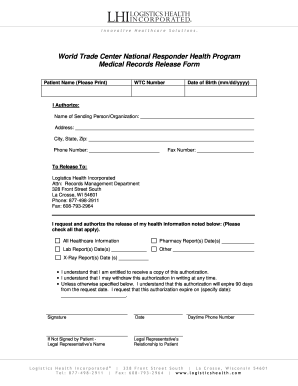 letter to release medical records