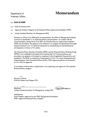 Department of veterans affairs fillable memo form