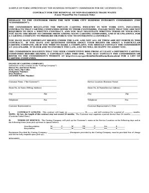 nycgov requirements contract sample form