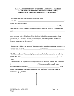 DHMH Standard MOU (6/05) Page 1 of Pages MARYLAND ... - dhmh maryland