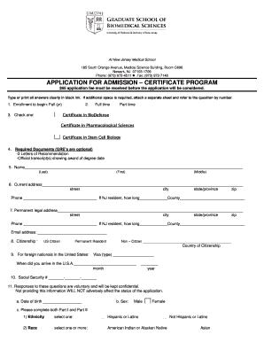 Fillable Online njms umdnj Certificate Application Form - New ...