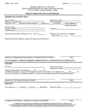 Fillable Online michigan Special Education Deviation Request Form ...