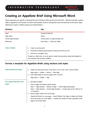 Appellate Brief Template Microsoft Word 2010 - Fill Online ...
