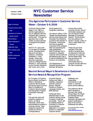 Fillable Online nyc NYC Customer Service Newsletter - NYC
