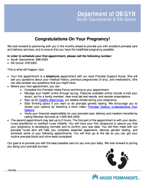 pregnancy paperwork Kaiser Pregnancy - Fill Online, Printable, Fillable, Blank | PDFfiller