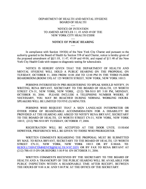 NOTICE OF INTENTION TO AMEND ARTICLES 11, 45 ... - NYC . gov - nyc