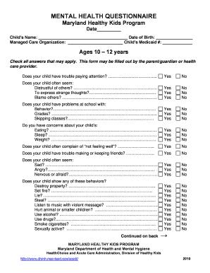 Mental Health Questionnaire Maryland Healthy Kids Program
