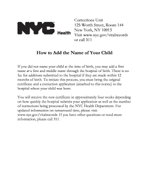 How to Add the Name of Your Child - NYC.gov - nyc