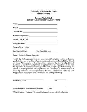 Employment Certification Form - Fill Online, Printable, Fillable ...