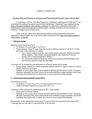 templates for immunization standing orders in new york state form