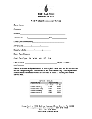 Hotel Reservation Form - Fill Online, Printable, Fillable, Blank ...