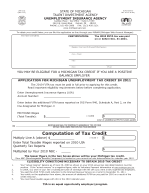 Fillable online michigan uia 1110 rev 6 15 reset form state of michigan talent investment - Michigan unemployment office ...