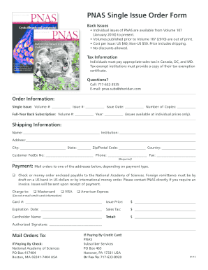 PNAS Single Issue Order Form - Proceedings of the National  - pnas