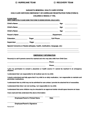 Child Care Emergency Form Fillable - Fill Online, Printable