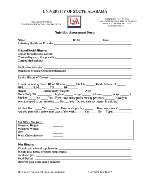 Fillable Nutrition Assessment Form Fill Online Printable