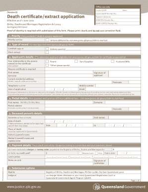 death certificate extract form