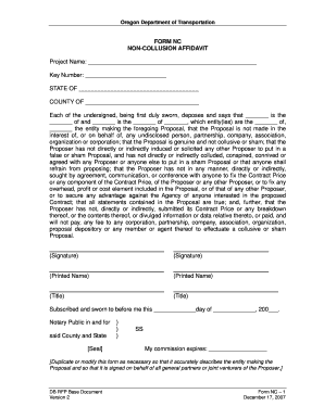 oregon dot non collusion affidavit form