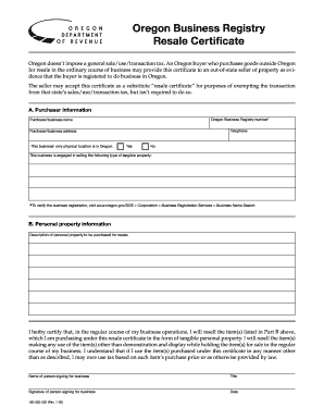 Resale Certificate Oregon Form  Letter Of Intent To Purchase Goods